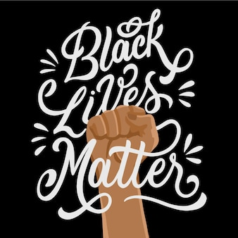 Black lives matter boodschap met opgeheven vuist