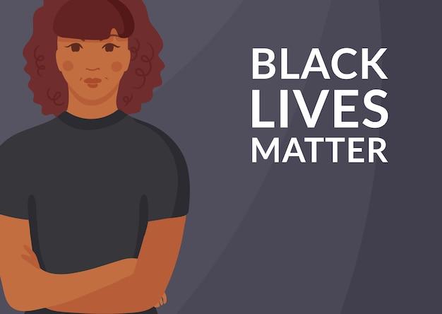 Black lives matter concept. jonge mooie afro-amerikaanse vrouw staat met gevouwen armen. girl power, racegelijkheid en tolerantie, vrouwen tegen racisme. illustratie Premium Vector