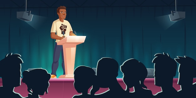 Black lives matter-conferentie. afro-amerikaanse man die op tribune spreekt tegen rassendiscriminatie. donkere huidkarakter met vuistafdruk op de borst ondersteunt mensenrechten, cartoonillustratie
