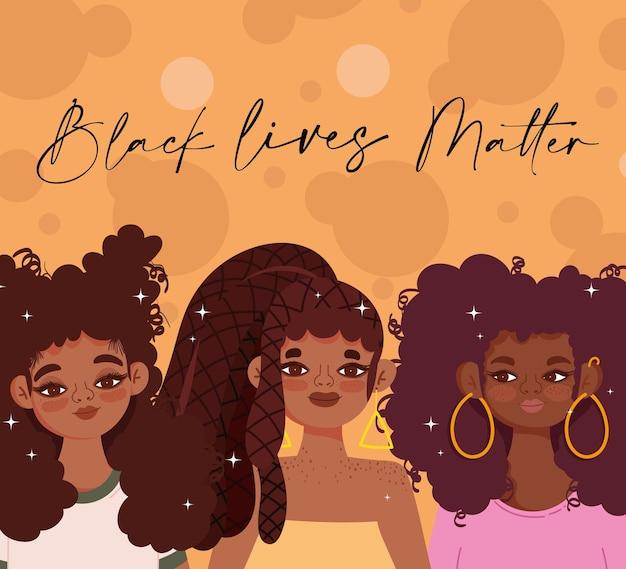 Black lives matter sjabloon met schattige meisjes