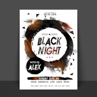 Black night party flyer, sjabloon of banner ontwerp. abstracte halftone stijl achtergrond met cirkelvormig frame gemaakt door borstelslagen.
