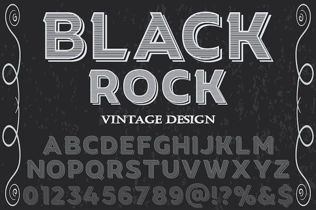 Black rock alfabet lettertype illustratie