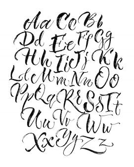 Black scrawling alfabetletters in hoofdletters en kleine letters