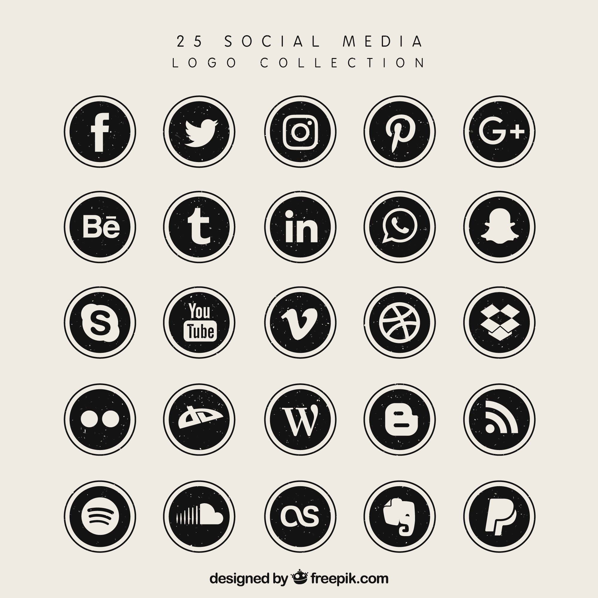 Black social media logo collectie