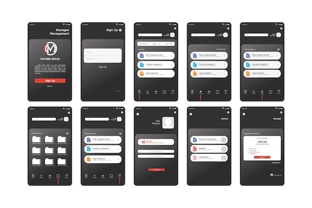 Black storage management app ui kit-sjabloon