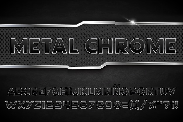 Black typography metal chrome