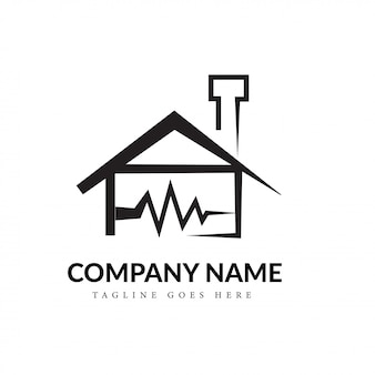 Black & white home en heartbeat line art logo concept