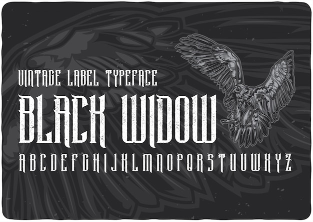 Black widow label lettertype