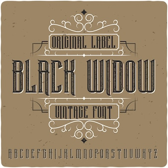 Black widow vintage belettering