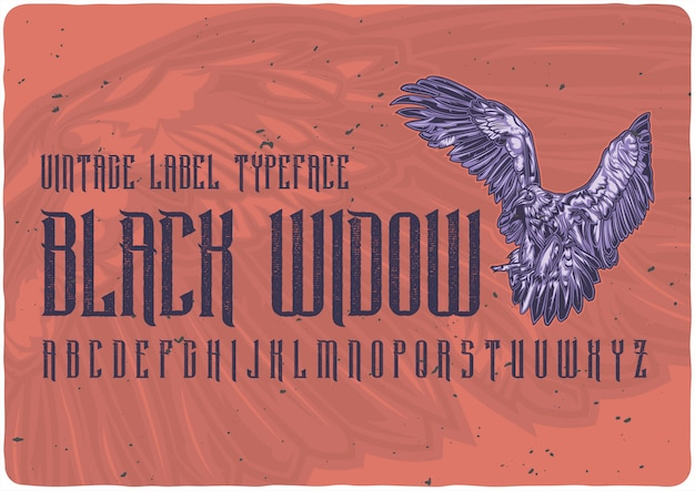 Black widow vintage label lettertype