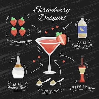 Blackboard aardbei daiquiri cocktail recept