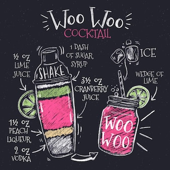 Blackboard cocktail recept illustratie
