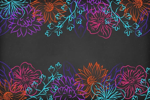 Blackboard handgetekende bloemen achtergrond
