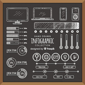 Blackboard infographic element collectie