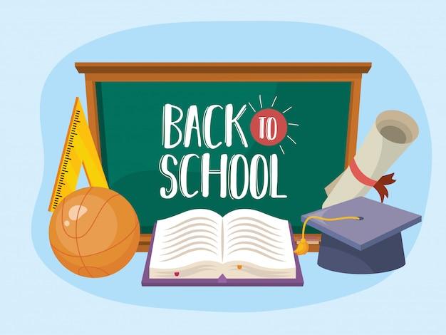 Blackboard met afstudeerpet en diploma met boek