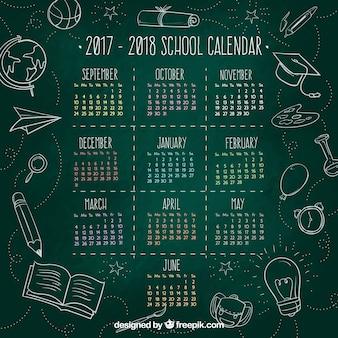 Blackboard school kalender met schetsen