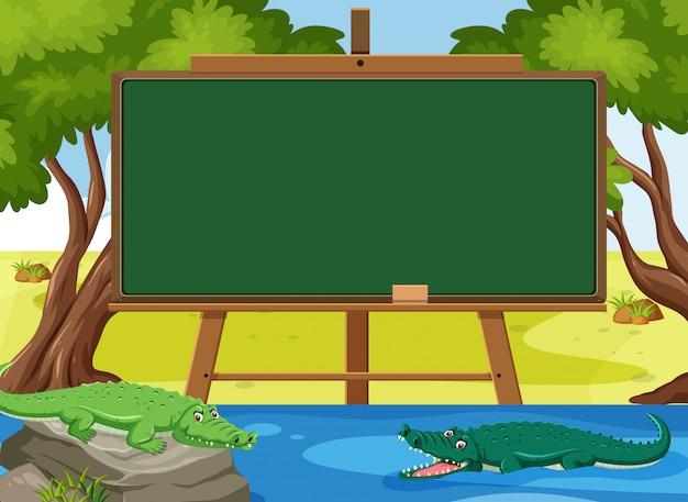 Blackboard sjabloon met krokodillen in de rivier