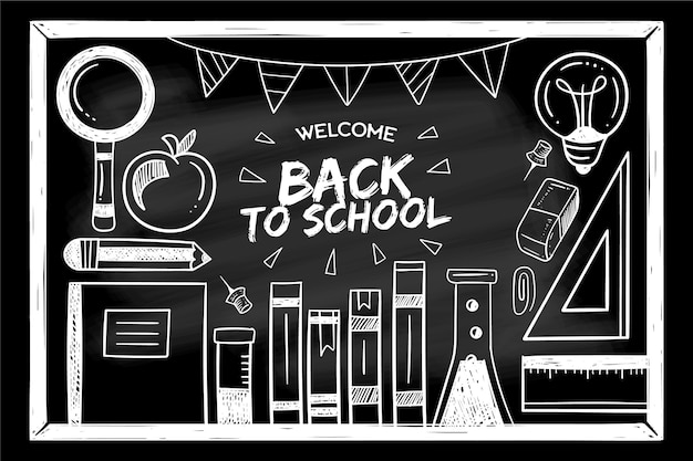 Blackboard stijl terug naar school achtergrond
