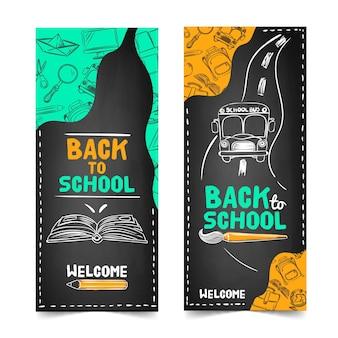 Blackboard terug naar school banners sjabloon
