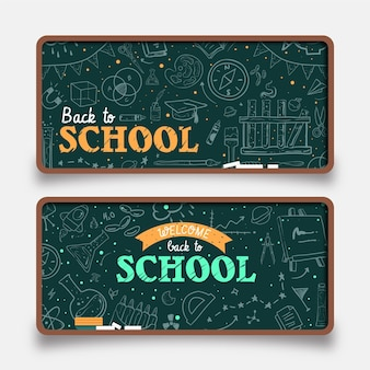 Blackboard terug naar school horizontale banners