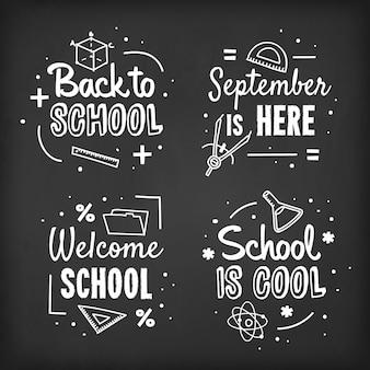 Blackboard terug naar school labels-collectie