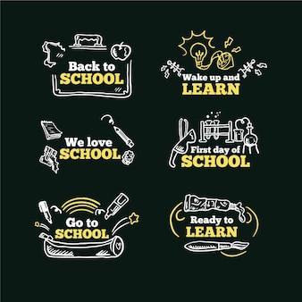 Blackboard terug naar school labels