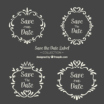 Blackboard wedding labels met vintage frame