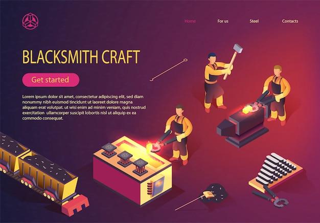 Blacksmith craft op de landingspagina van metallurgical plant