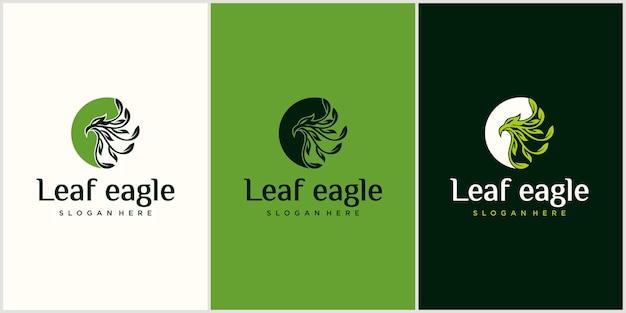 Blad combinatie adelaar logo ontwerp adelaar natuur logo ontwerp illustratie met visitekaartje
