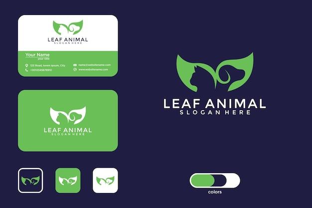 Blad dier logo ontwerp en visitekaartje