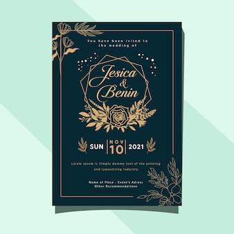 Blad en bloem bruiloft uitnodiging kaartsjabloon ontwerp