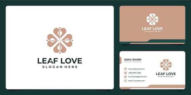 Blad- en liefdeslogo-combinatie met visitekaartje
