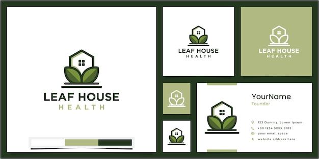 Blad huis gezondheid, logo ontwerp inspiratie