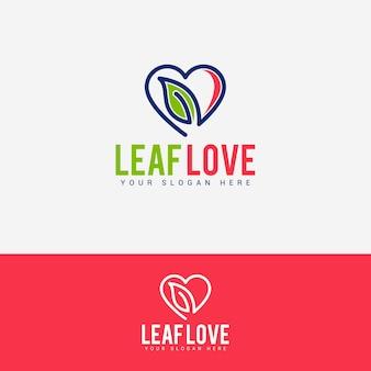 Blad liefde logo vector ontwerpsjabloon