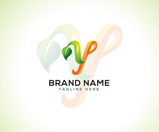 Blad logo 3d-letter y Premium Vector