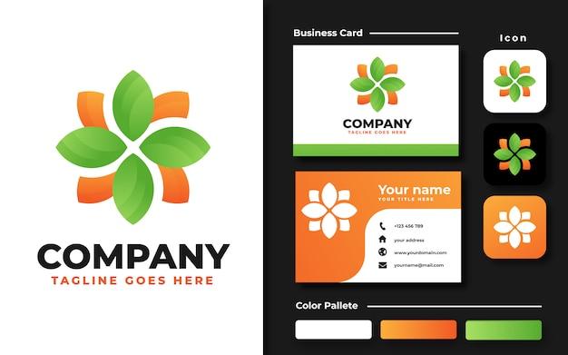 Blad logo sjabloon en visitekaartje