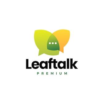 Blad praten chat bubble forum logo vector pictogram illustratie