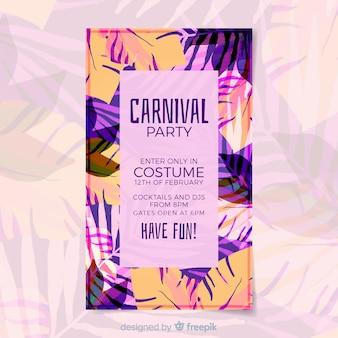 Blad silhouetten braziliaanse carnaval poster