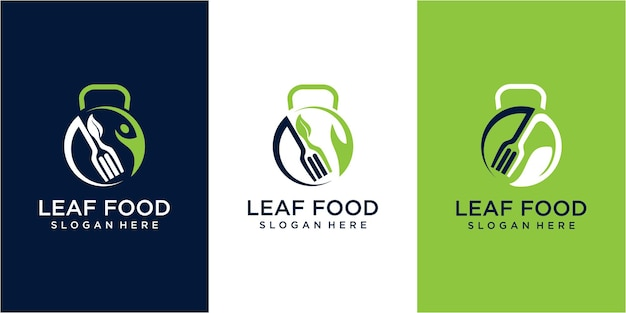 Blad voedsel logo ontwerpconcept. blad logo ontwerp. voedsel logo ontwerp. voedsel blad fitness logo ontwerp inspiratie