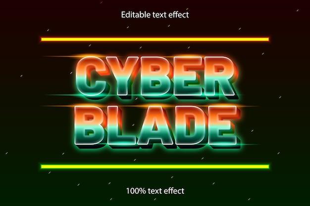 Blade bewerkbaar teksteffect retro met neonstijl