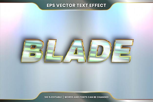 Blade woorden, bewerkbare tekst effect metaal zilver en goud kleur concept