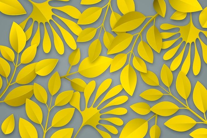 Bladeren achtergrond in papierstijlkleur van het jaar 2021