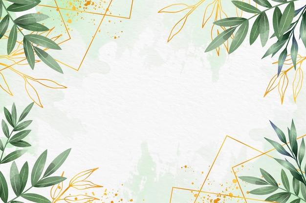 Bladeren achtergrond met metallic folie