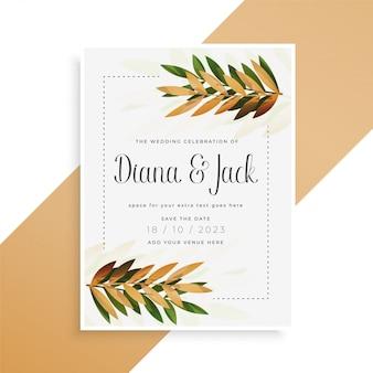 Bladeren afdrukken prachtige bruiloft kaart ontwerp
