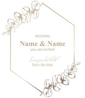 Bladeren decor kaart lijntekeningen. vintage retro stijl bruiloft uitnodiging of groeten