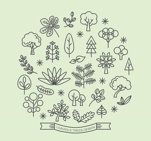 Bladeren en bomen pictogrammen schetsen stijl vector