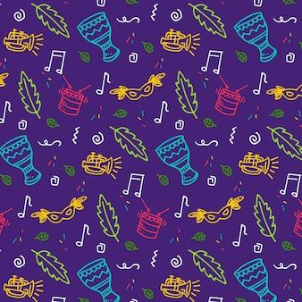 Bladeren en muziek naadloos carnaval patroon