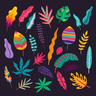 Bladeren en planten in mexicaanse stijl, traditioneel bloemenornament van mexico. kleurrijke bladeren van exotische tropische planten en bomen