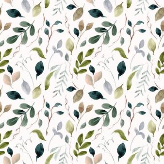 Bladeren en takken aquarel naadloze patroon