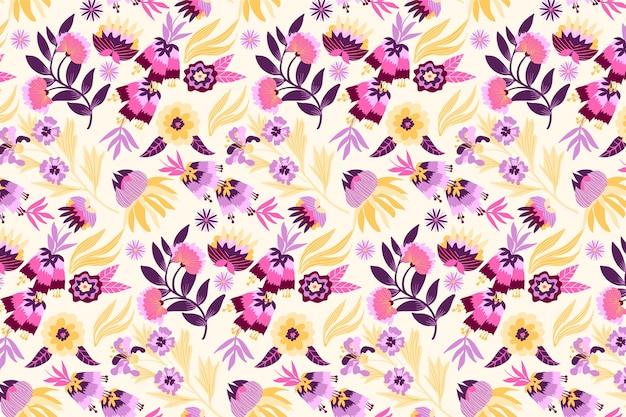 Bladeren en tropisch bloemenpatroon